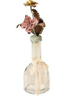 Garrafa De Vidro Decorativa E Flores De Metal Petit Bouquet