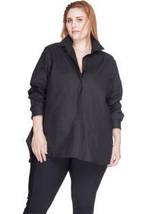 Camisa Evasê 100% Algodão Bold Plus Size Preto