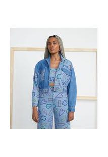 Jaqueta Em Jeans Com Estampas De Desenhos