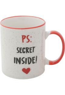 Caneca Ps: Secret Inside Branca E Preta 9,6X8X8 Cm