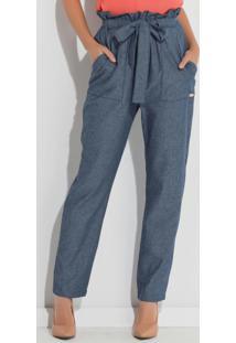 Calça Clochard Quintess Em Jeans Azul Com Bolsos