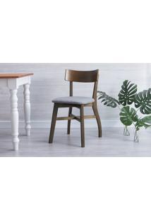 Cadeira De Mesa De Jantar Estofada Bella - Castanho E Cinza Escuro Tec. B204 - 44X51X82 Cm