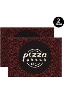 Kit 2Pçs Jogo Americano Mdecor Pizza 40X28Cm Marrom