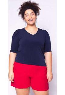 Blusa Almaria Plus Size Ela Linda Básica Azul Marinho Azul