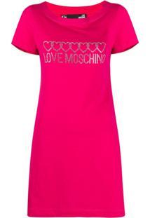 Love Moschino Vestido Com Aplicação De Logo - Rosa