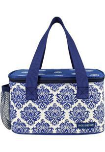 Bolsa Térmica Floral - Azul Escuro & Branca - 13X21,Jacki Design