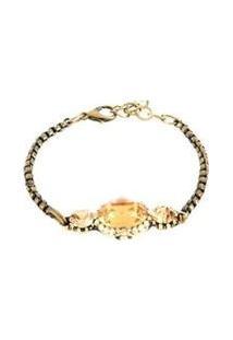 Pulseira Armazem Rr Bijoux Cristal Ouro Velho - Feminino-Dourado