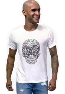 Camiseta Joss Caveira Olho Flor Masculina - Masculino-Branco