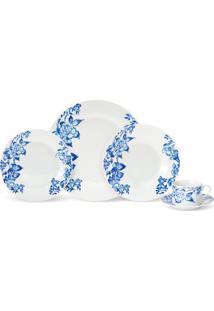 Aparelho De Jantar Floral Azul Com 20 Peças