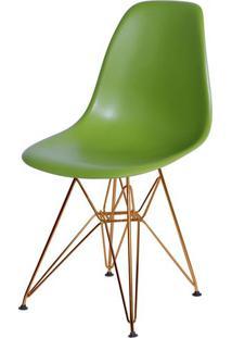 Cadeira Eames Polipropileno Fosco Verde Base Cobre - 45972 - Sun House