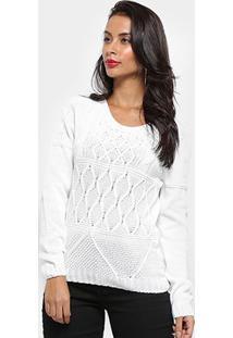 Suéter Tricot Fast Glam Cropped Feminino - Feminino-Off White
