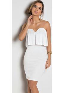 912ad8661d Vestido Tubinho Com Babado No Decote Branco