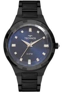 Relógio Feminino Technos Crystal 2036Mjl/4A Pulseira Aço Preta - Feminino-Preto