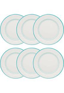 Conjunto 6 Pratos Rasos Oxford Serena Sky Cerâmica 26Cm Azul/Marfim