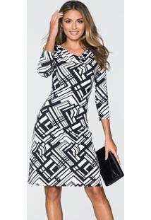 Vestido Estampado Geométrico Preto/Branco