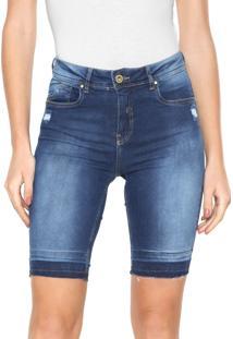 Bermuda Jeans Lunender Ajustada Azul