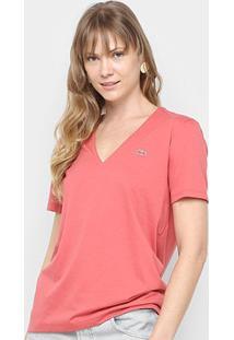 Camiseta Lacoste Gola V Feminina - Feminino-Rosa Escuro