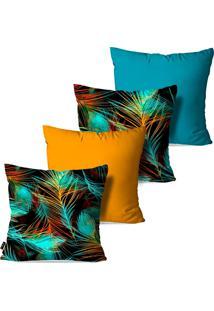 Kit Com 4 Capas Para Almofadas Pump Up Decorativas Folhas Coloridas Estilo Abstrato 45X45Cm