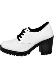 Botinha Oxford Ankle Boot Bota Salto Verniz Branca 5201 - Tricae