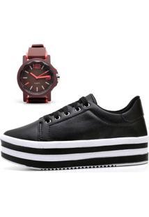 Tênis Ousy Shoes Flatform Mais Relógio Preto