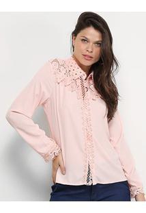 Camisa Manga Longa Chic Up Guipir Feminina - Feminino-Rosa