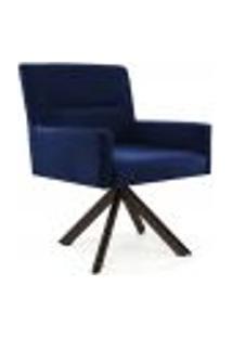 Poltrona Decorativa Giratória Eiffel Choco Angel D02 Veludo Azul Oxford B-304 -Lyam Decor