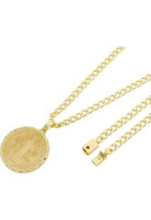 Pingente São Bento Com Corrente Grumet Tudo Joias Fecho Gaveta Folheado A Ouro 18K Dourada