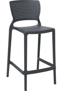Cadeira Alta Tramontina 92128007 Safira Polipropileno Fibra De Vidro Grafite