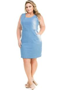 Vestido Confidencial Extra Plus Size Jeans Tubinho Com Correntes Feminino - Feminino-Azul