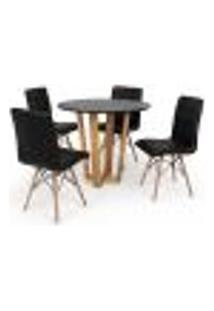 Conjunto Mesa De Jantar Lara 90Cm Preta Com 4 Cadeiras Eiffel Gomos - Preta