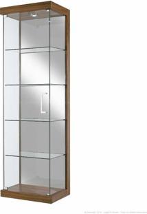 Cristaleira 1 Porta E Com Espelho E Led Glass Louro Freijó/Espelhado - Designer Vidros