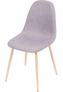 Cadeira Robin Linho Cinza Base De Metal Com Pintura De Madeira - 43058 - Sun House