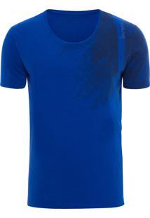 Camiseta Masculina Ckj Manga Curta Estampa E Logo - Azul