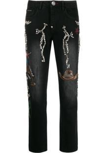 Philipp Plein Calça Jeans Boyfriend Cowboy - Preto