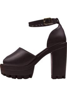 Sandália Eleganteria Anabela Nobuck Preta - Kanui