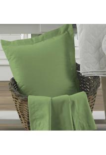 Fronha Avulsa Verde Com Aba 100% Algodão Percal 200 Fios