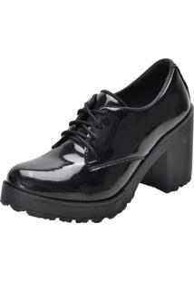 Sapato Oxford Mel Comfort Tratorado Verniz Preto