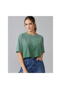 Amaro Feminino T-Shirt Cropped Soundtrack, Verde