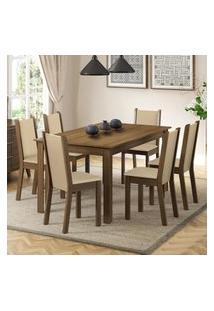 Conjunto Sala De Jantar Madesa Miriam Mesa Tampo De Madeira Com 6 Cadeiras Marrom