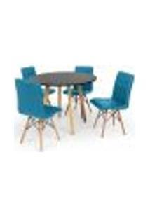 Conjunto Mesa De Jantar Laura 100Cm Preta Com 4 Cadeiras Eiffel Gomos - Turquesa