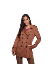 Trench Coat Feminino Suede Jfsi80577 Cappuccino