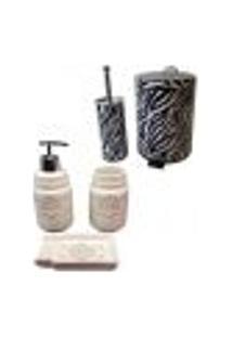Kit Para Banheiro 5 Peças Lixeira Saboneteira Porta Escova Sabão Liquido - Deca R008