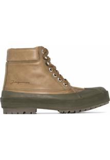 Jacquemus Ankle Boot Les Meuniers Hautes De Couro - Verde