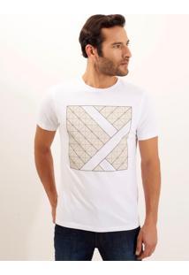 Camiseta Dudalina Manga Curta Malha Masculina (Branco, P)
