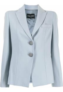 Giorgio Armani Blazer Com Abotoamento Simples De Lã Mista - Azul