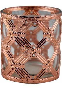 Castiã§Al De Metal Bronze E Vidro 7,5X7,5X8 Cm - Incolor - Dafiti