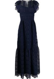 Alberta Ferretti Lace Panel Tiered Dress - Azul