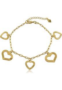 Pulseira Corrente Cartier Com Pingentes De Corações Vazados Em Banho De Ouro 18K