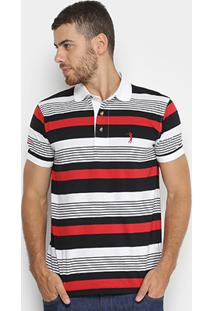 Camisa Polo Aleatory Listrada Masculina - Masculino-Marinho+Vermelho
