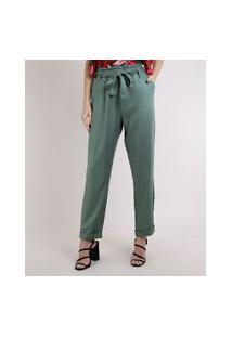 Calça Feminina Clochard Cintura Super Alta Com Faixa Para Amarração E Bolsos Verde Escuro